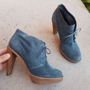 Cole Haan Suade Leather Lace-up Heeled Booties S3